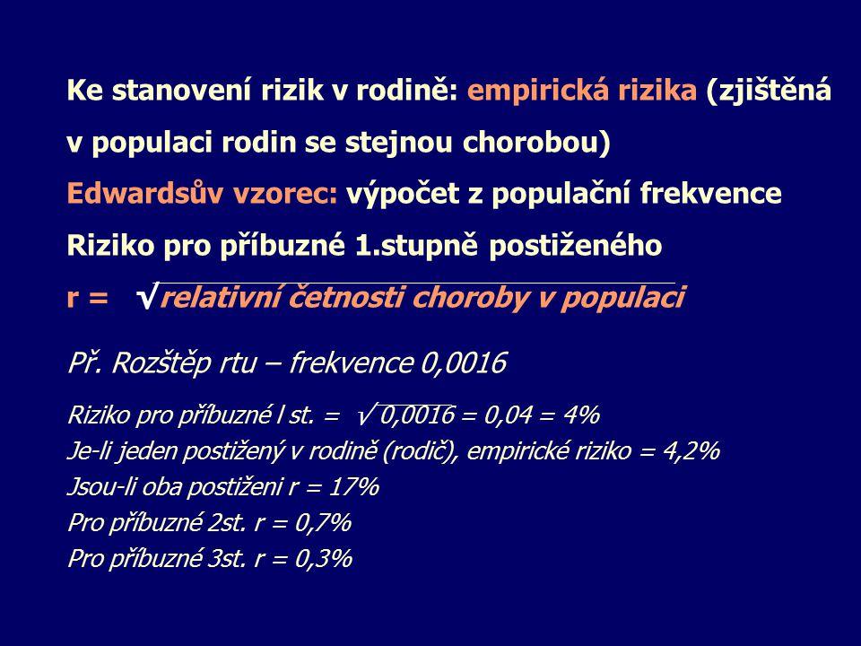 Ke stanovení rizik v rodině: empirická rizika (zjištěná v populaci rodin se stejnou chorobou) Edwardsův vzorec: výpočet z populační frekvence Riziko p