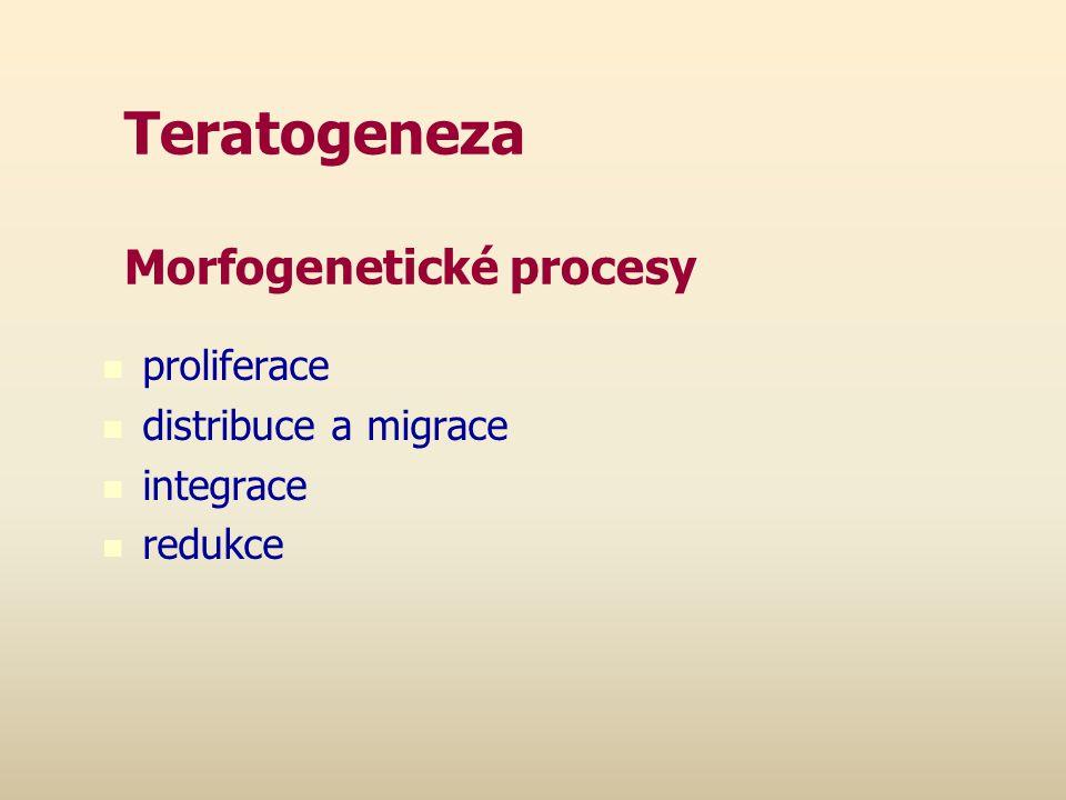 Teratogeneza Morfogenetické procesy proliferace distribuce a migrace integrace redukce