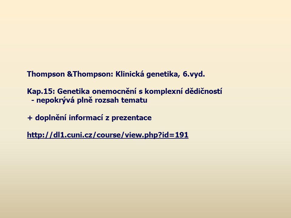Thompson &Thompson: Klinická genetika, 6.vyd. Kap.15: Genetika onemocnění s komplexní dědičností - nepokrývá plně rozsah tematu + doplnění informací z