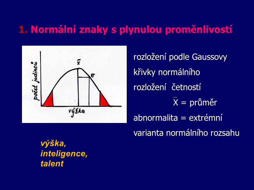1. Normální znaky s plynulou proměnlivostí výška, inteligence, talent rozložení podle Gaussovy křivky normálního rozložení četností X = průměr abnorma