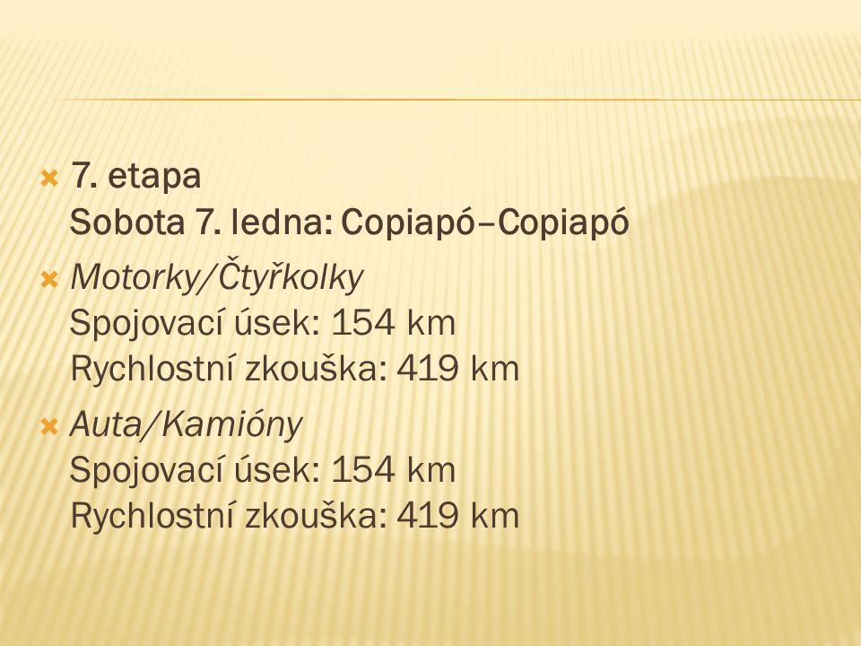  7. etapa Sobota 7. ledna: Copiapó–Copiapó  Motorky/Čtyřkolky Spojovací úsek: 154 km Rychlostní zkouška: 419 km  Auta/Kamióny Spojovací úsek: 154 k