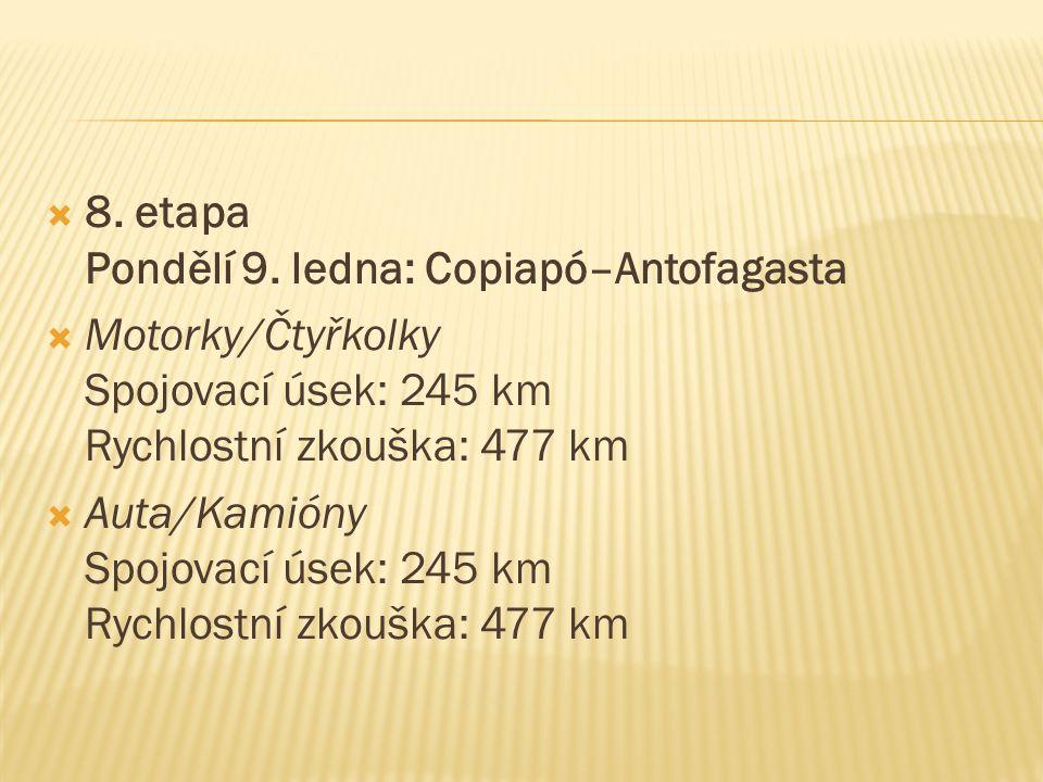  8. etapa Pondělí 9. ledna: Copiapó–Antofagasta  Motorky/Čtyřkolky Spojovací úsek: 245 km Rychlostní zkouška: 477 km  Auta/Kamióny Spojovací úsek: