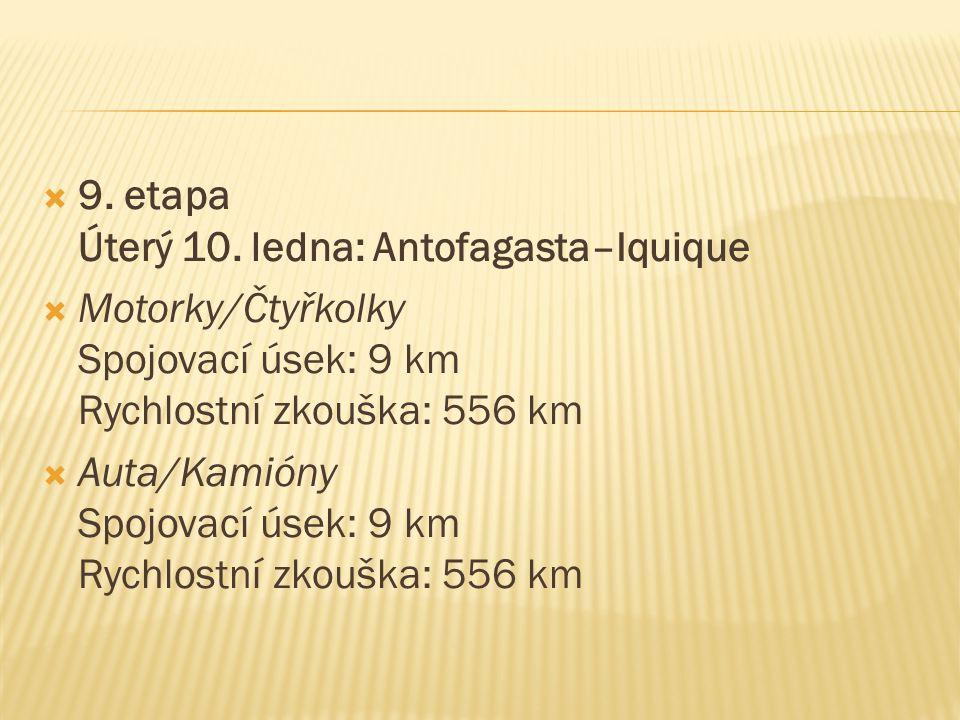  9. etapa Úterý 10. ledna: Antofagasta–Iquique  Motorky/Čtyřkolky Spojovací úsek: 9 km Rychlostní zkouška: 556 km  Auta/Kamióny Spojovací úsek: 9 k