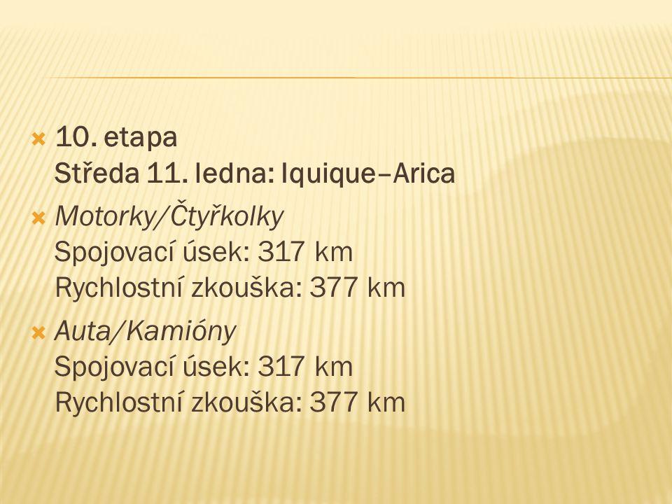  10. etapa Středa 11. ledna: Iquique–Arica  Motorky/Čtyřkolky Spojovací úsek: 317 km Rychlostní zkouška: 377 km  Auta/Kamióny Spojovací úsek: 317 k