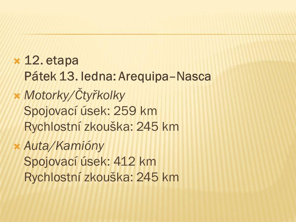  12. etapa Pátek 13. ledna: Arequipa–Nasca  Motorky/Čtyřkolky Spojovací úsek: 259 km Rychlostní zkouška: 245 km  Auta/Kamióny Spojovací úsek: 412 k