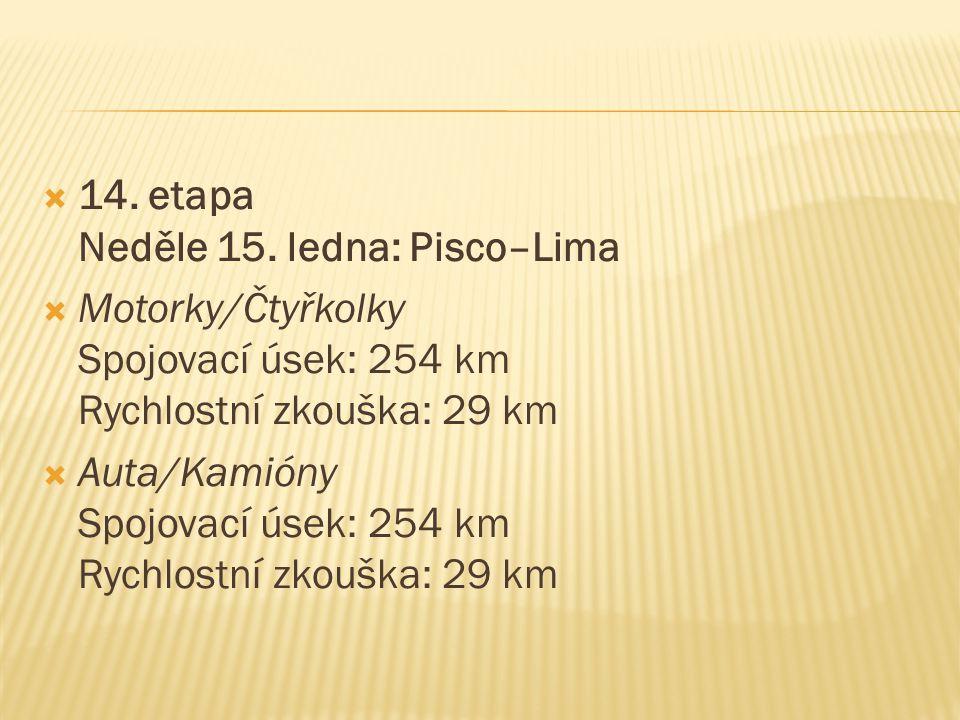  14. etapa Neděle 15. ledna: Pisco–Lima  Motorky/Čtyřkolky Spojovací úsek: 254 km Rychlostní zkouška: 29 km  Auta/Kamióny Spojovací úsek: 254 km Ry