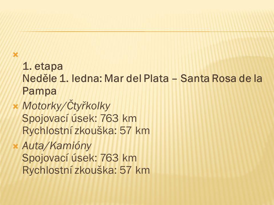  1. etapa Neděle 1. ledna: Mar del Plata – Santa Rosa de la Pampa  Motorky/Čtyřkolky Spojovací úsek: 763 km Rychlostní zkouška: 57 km  Auta/Kamióny