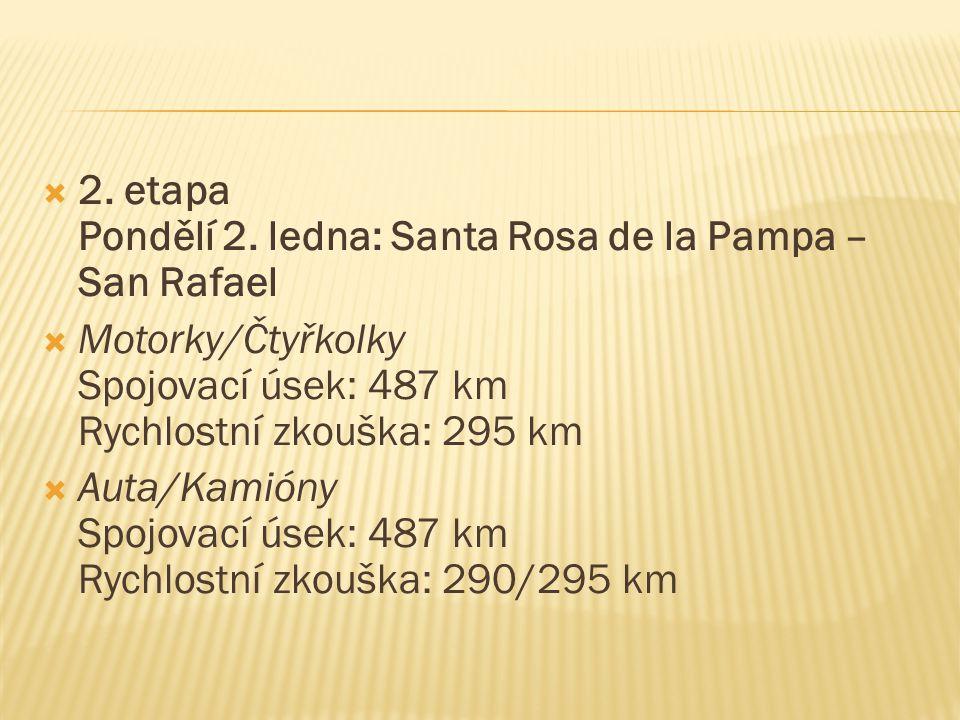  2. etapa Pondělí 2. ledna: Santa Rosa de la Pampa – San Rafael  Motorky/Čtyřkolky Spojovací úsek: 487 km Rychlostní zkouška: 295 km  Auta/Kamióny