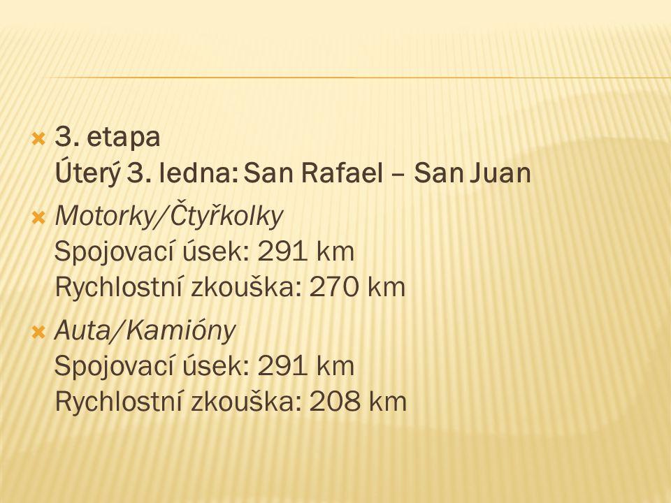  3. etapa Úterý 3. ledna: San Rafael – San Juan  Motorky/Čtyřkolky Spojovací úsek: 291 km Rychlostní zkouška: 270 km  Auta/Kamióny Spojovací úsek: