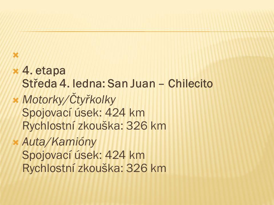   4. etapa Středa 4. ledna: San Juan – Chilecito  Motorky/Čtyřkolky Spojovací úsek: 424 km Rychlostní zkouška: 326 km  Auta/Kamióny Spojovací úsek