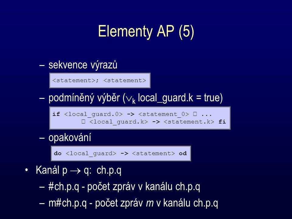 Elementy AP (5) –sekvence výrazů –podmíněný výběr (  k local_guard.k = true) –opakování Kanál p  q: ch.p.q –#ch.p.q - počet zpráv v kanálu ch.p.q –m#ch.p.q - počet zpráv m v kanálu ch.p.q ; if ->...