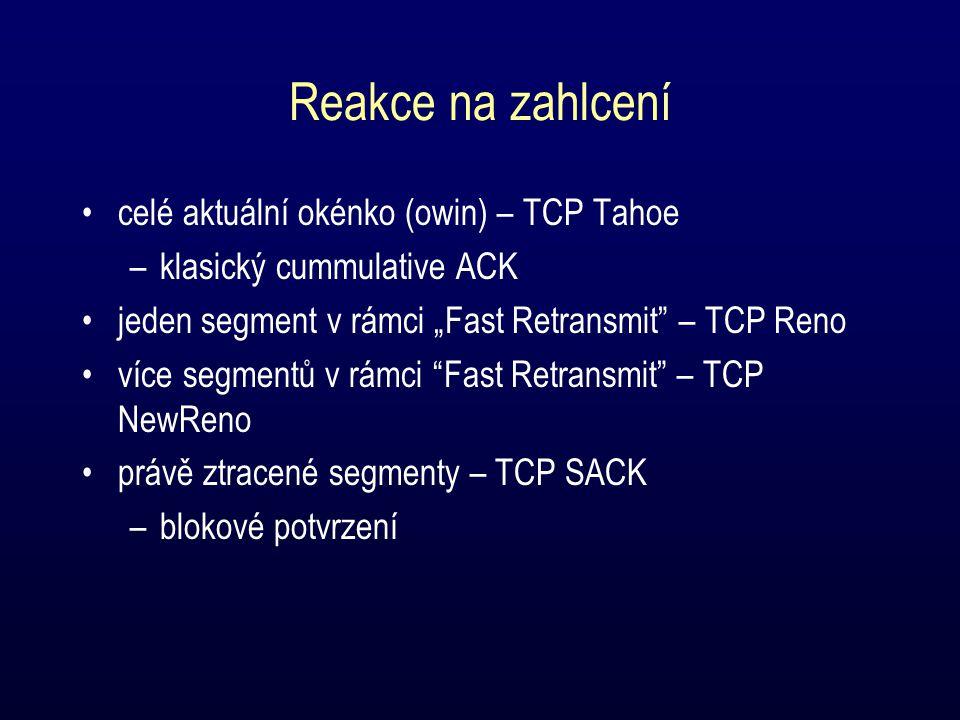 """Reakce na zahlcení celé aktuální okénko (owin) – TCP Tahoe –klasický cummulative ACK jeden segment v rámci """"Fast Retransmit – TCP Reno více segmentů v rámci Fast Retransmit – TCP NewReno právě ztracené segmenty – TCP SACK –blokové potvrzení"""