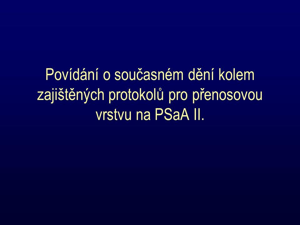 Povídání o současném dění kolem zajištěných protokolů pro přenosovou vrstvu na PSaA II.