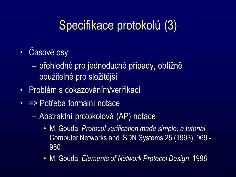 Specifikace protokolů (3) Časové osy –přehledné pro jednoduché případy, obtížně použitelné pro složitější Problém s dokazováním/verifikací => Potřeba formální notace –Abstraktní protokolová (AP) notace M.
