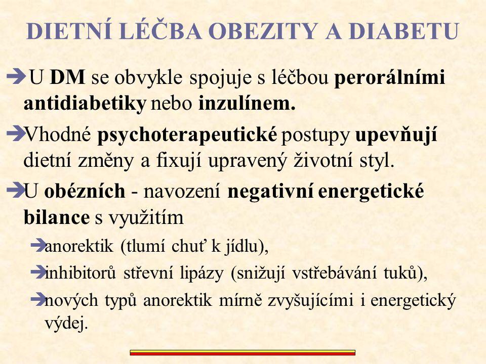 DIETNÍ LÉČBA OBEZITY A DIABETU  U DM se obvykle spojuje s léčbou perorálními antidiabetiky nebo inzulínem.  Vhodné psychoterapeutické postupy upevňu