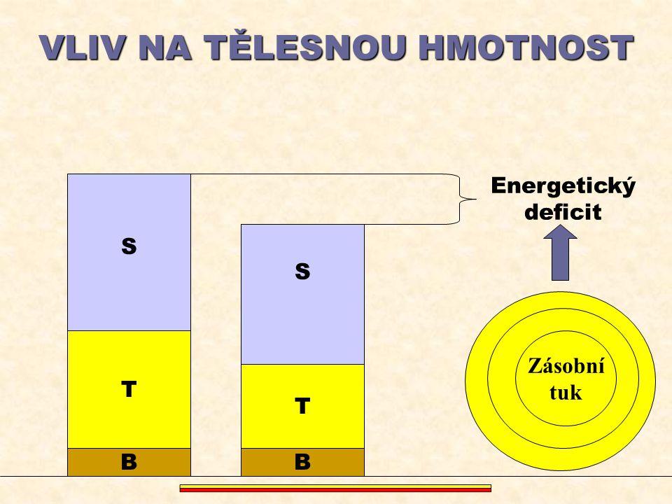 VLIV NA TĚLESNOU HMOTNOST S B T S T B Energetický deficit Zásobní tuk Zásobní tuk Zásobní tuk