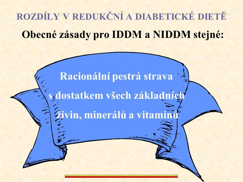 ROZDÍLY V REDUKČNÍ A DIABETICKÉ DIETĚ IDDM léčený inzulínem nebývá většinou obézní Je obvykle zaškolen na dietu s 225 - 325 g sacharidů (1800 kcal - 2440 kcal) Velmi pravidelně (!!!), 6-krát denně s vkládáním dopolední a odpolední svačiny a přidáním druhé večeře Důvod vkládání malých jídel: Inzulínové přípravky působí i za 2 - 3 hod po jídle a hrozí hypoglykémií