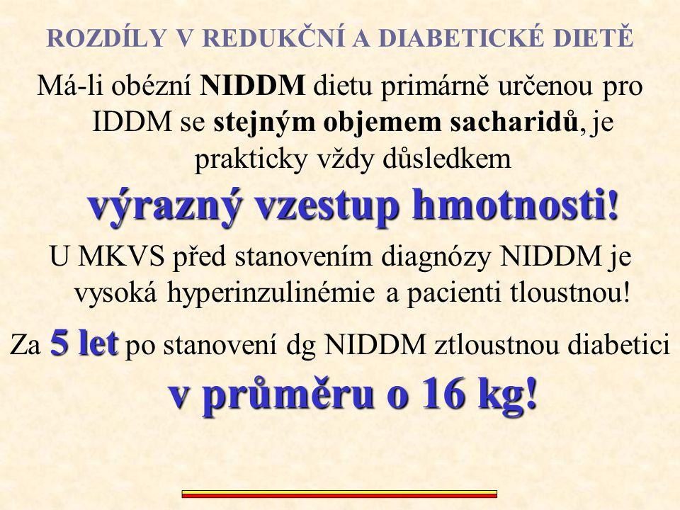 ROZDÍLY V REDUKČNÍ A DIABETICKÉ DIETĚ výrazný vzestup hmotnosti ! Má-li obézní NIDDM dietu primárně určenou pro IDDM se stejným objemem sacharidů, je
