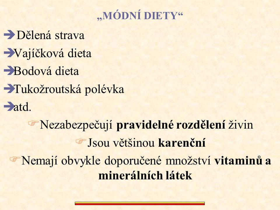 """""""MÓDNÍ DIETY""""  Dělená strava  Vajíčková dieta  Bodová dieta  Tukožroutská polévka  atd.  Nezabezpečují pravidelné rozdělení živin  Jsou většino"""
