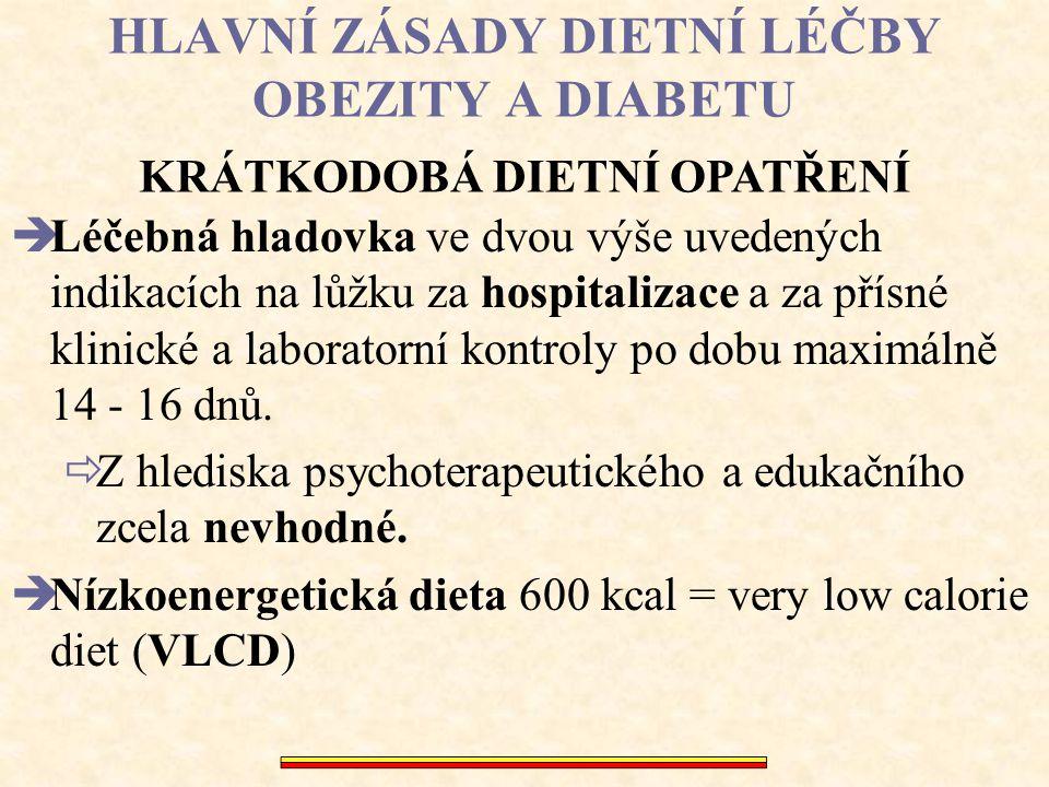 HLAVNÍ ZÁSADY DIETNÍ LÉČBY OBEZITY A DIABETU  Léčebná hladovka ve dvou výše uvedených indikacích na lůžku za hospitalizace a za přísné klinické a lab