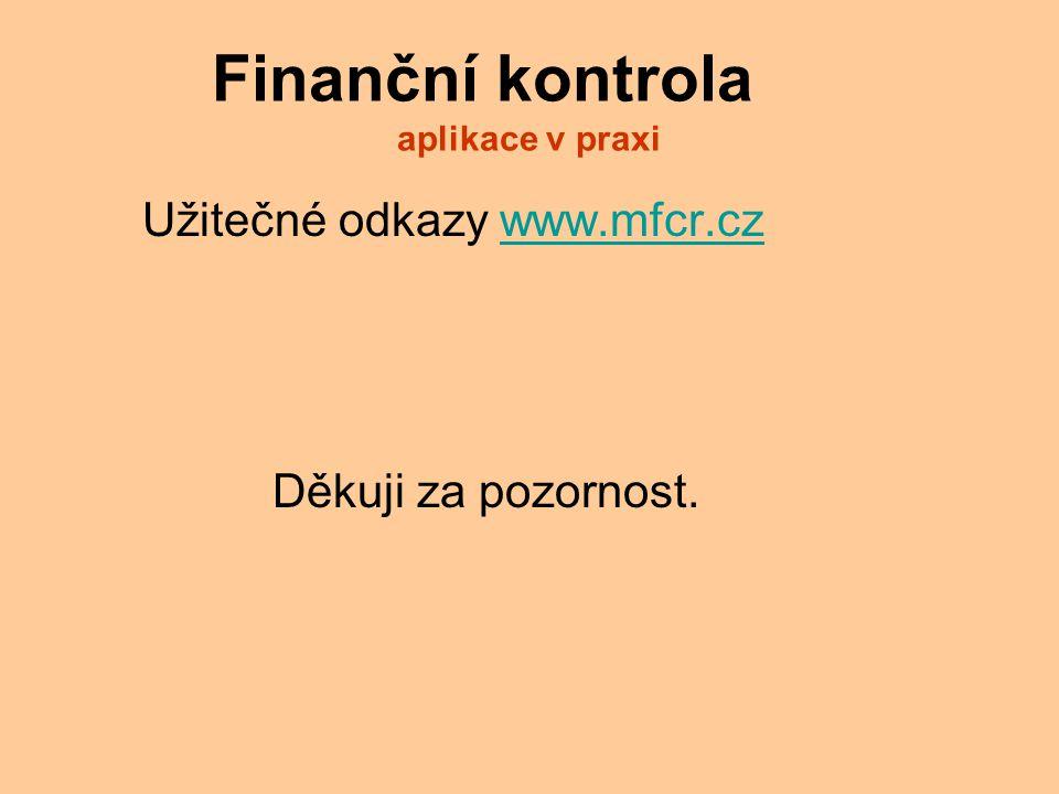 Finanční kontrola aplikace v praxi Užitečné odkazy www.mfcr.czwww.mfcr.cz Děkuji za pozornost.