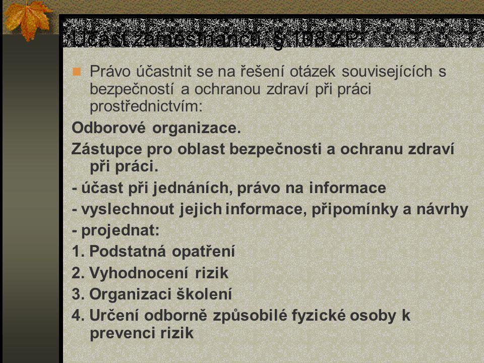 Účast zaměstnanců, § 108 ZP Právo účastnit se na řešení otázek souvisejících s bezpečností a ochranou zdraví při práci prostřednictvím: Odborové organizace.