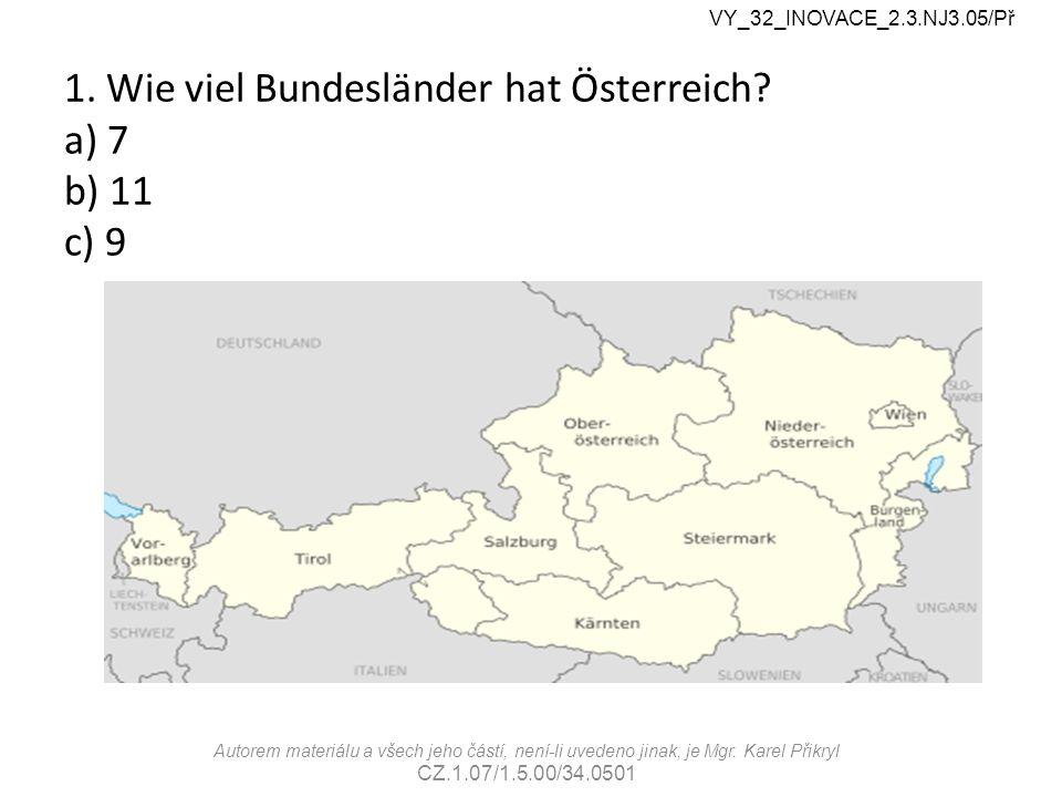 1. Wie viel Bundesländer hat Österreich.