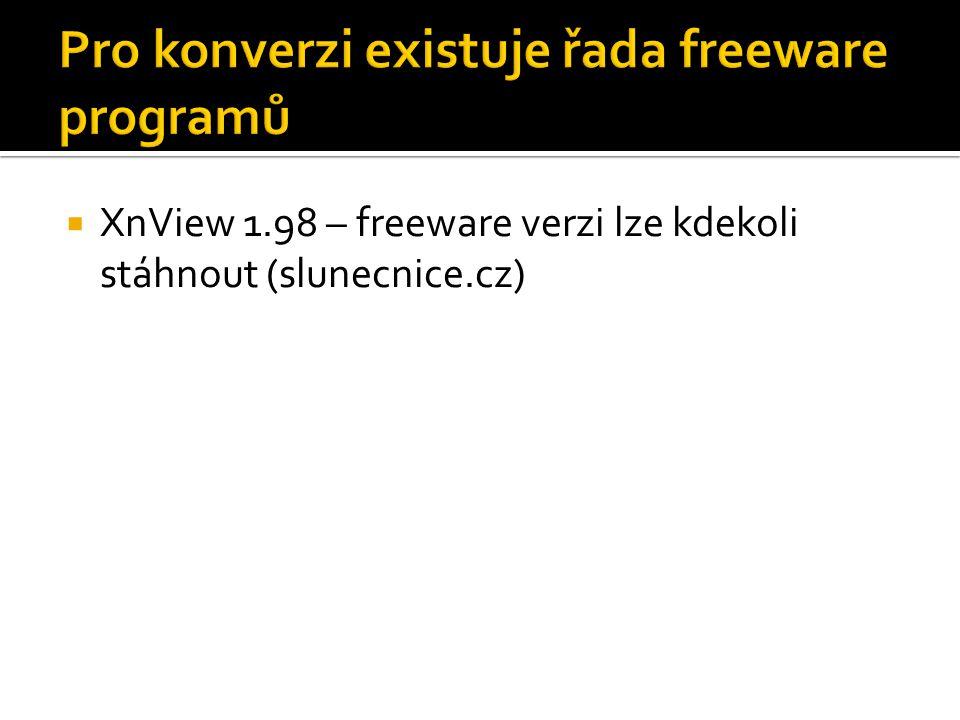  XnView 1.98 – freeware verzi lze kdekoli stáhnout (slunecnice.cz)