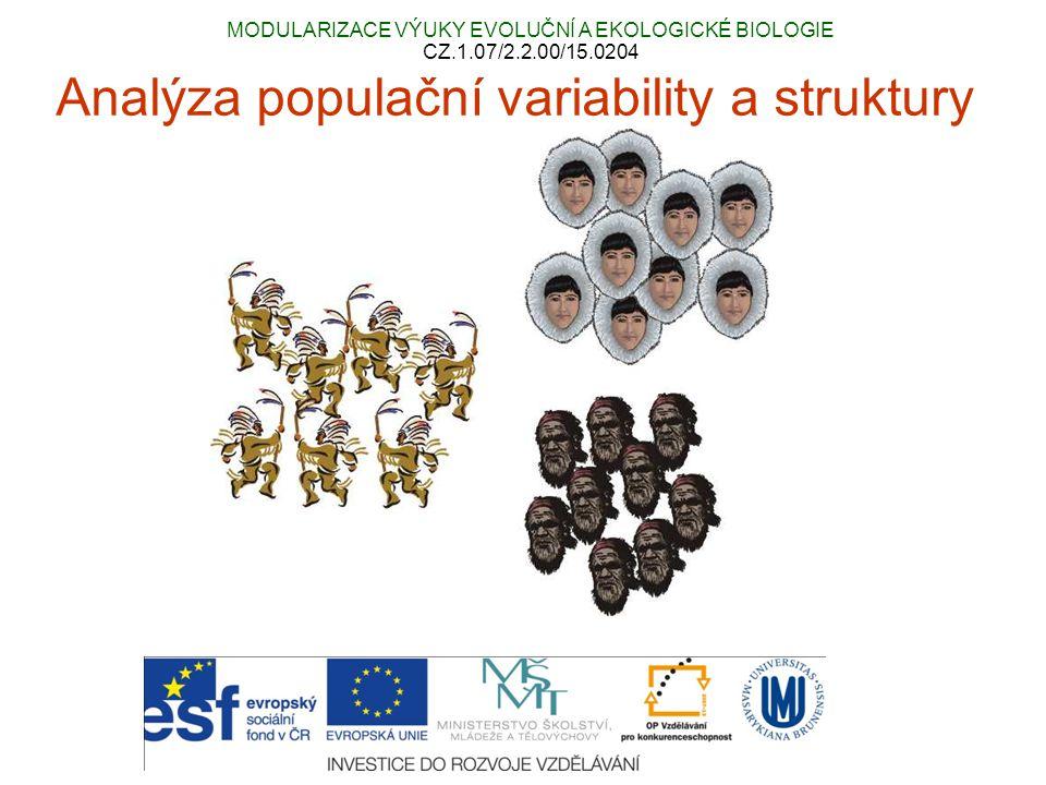 Hierarchická populační struktura Druh → populace → subpopulace (demy) lokusy používané pro analýzu populační struktury jsou neutrální vůči selekci klasický populačně-genetický přístup = jednotlivé populace jsou předem známy (např.