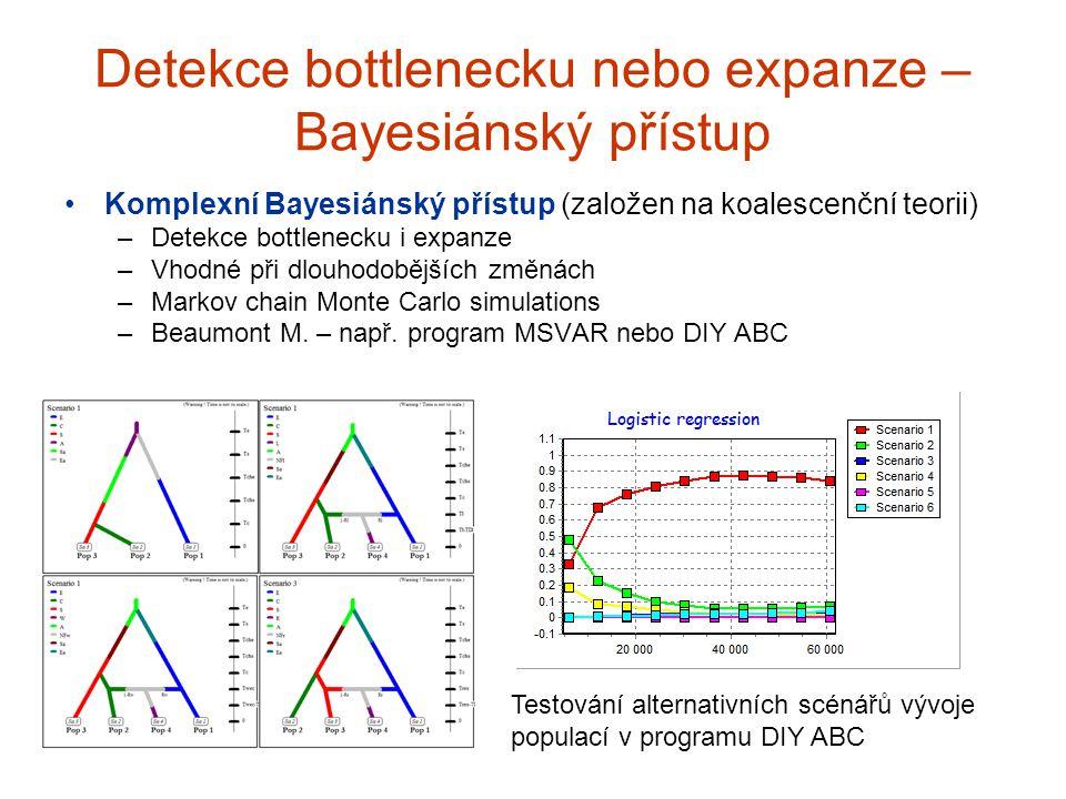 Detekce bottlenecku nebo expanze – Bayesiánský přístup Komplexní Bayesiánský přístup (založen na koalescenční teorii) –Detekce bottlenecku i expanze –