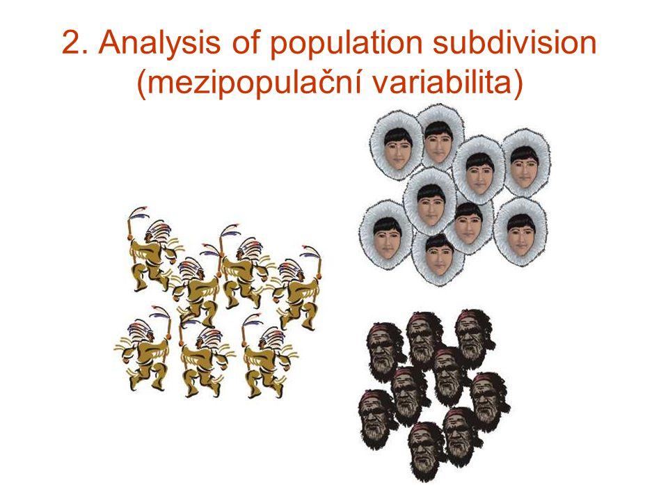 2. Analysis of population subdivision (mezipopulační variabilita)