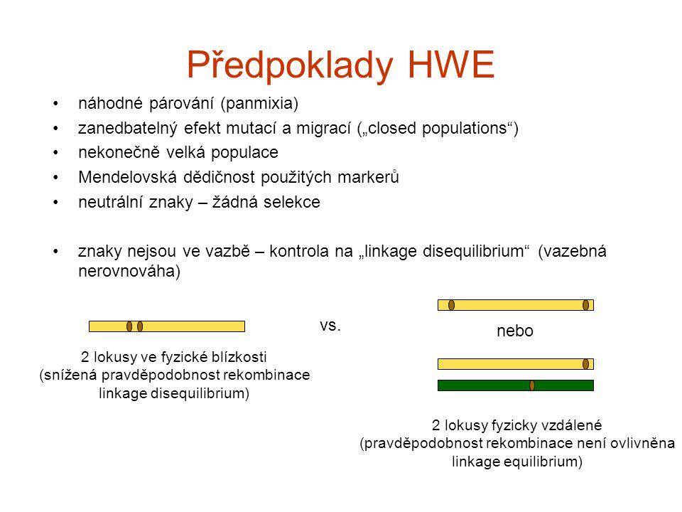 """Předpoklady HWE náhodné párování (panmixia) zanedbatelný efekt mutací a migrací (""""closed populations"""") nekonečně velká populace Mendelovská dědičnost"""