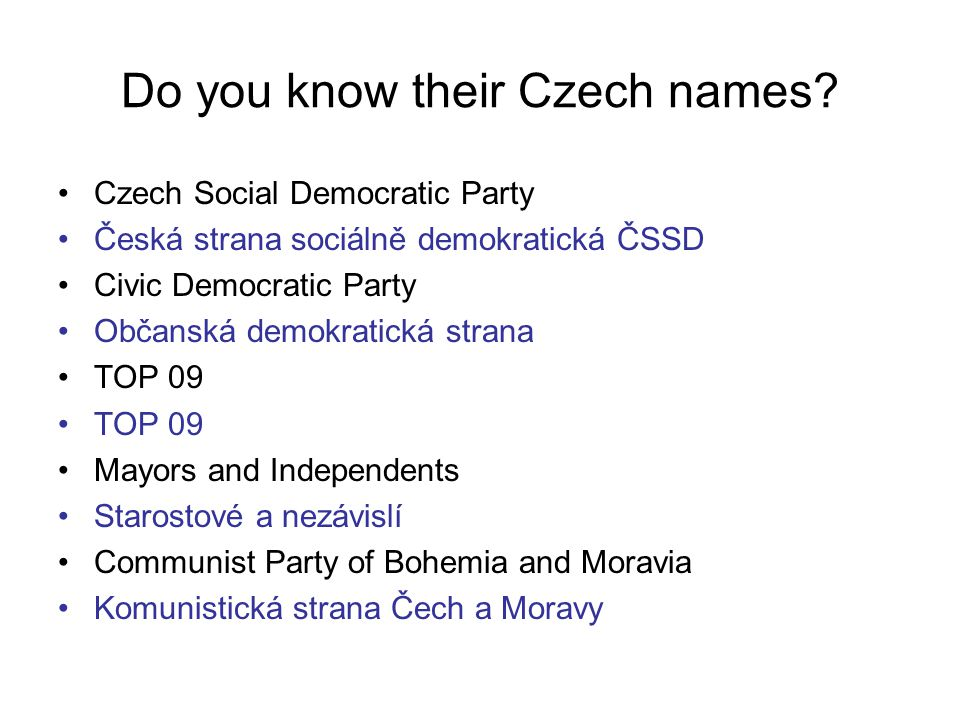Do you know their Czech names.