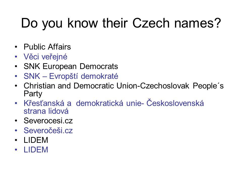 Public Affairs Věci veřejné SNK European Democrats SNK – Evropští demokraté Christian and Democratic Union-Czechoslovak People´s Party Křesťanská a de