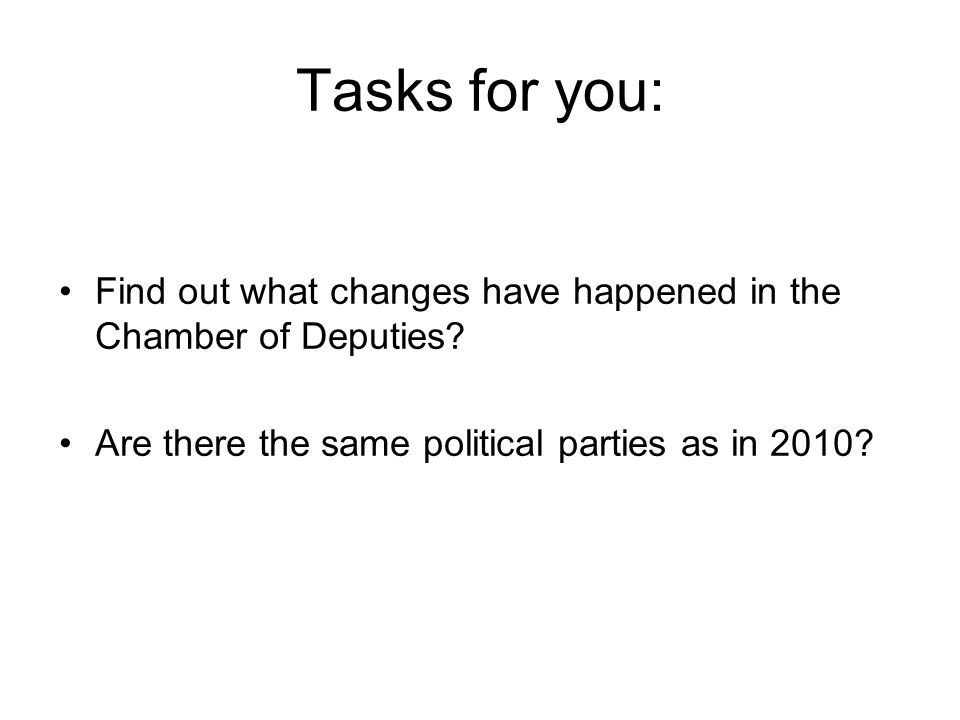 Tasks for you: Find out what changes have happened in the Chamber of Deputies.