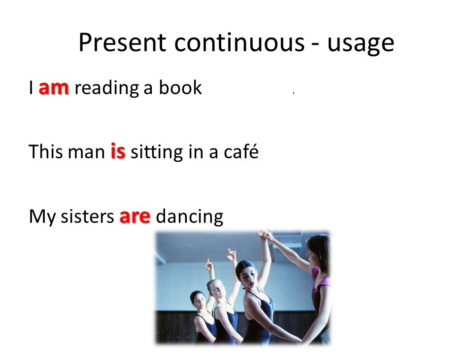 Present continuous - usage am right now I am reading a book right now. is in this picture This man is sitting in a café in this picture. are at the mo