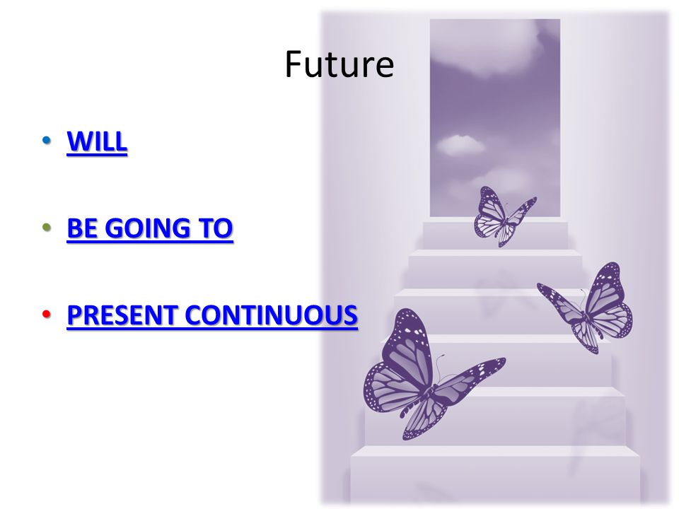 Future WILL WILL WILL BE GOING TO BE GOING TO BE GOING TO BE GOING TO PRESENT CONTINUOUS PRESENT CONTINUOUS PRESENT CONTINUOUS PRESENT CONTINUOUS