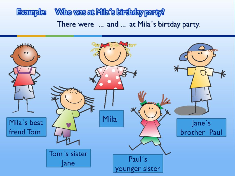 Mila´s best frend Tom Mila Tom´s sister Jane Paul´s younger sister Jane´s brother Paul There were...