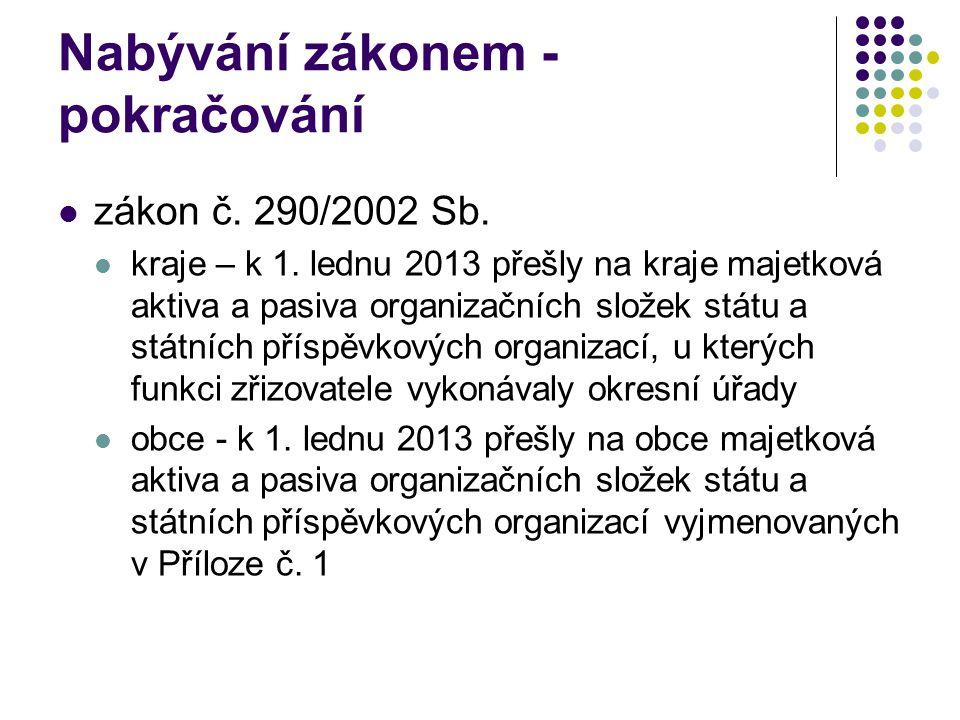 Nabývání zákonem - pokračování zákon č. 290/2002 Sb. kraje – k 1. lednu 2013 přešly na kraje majetková aktiva a pasiva organizačních složek státu a st