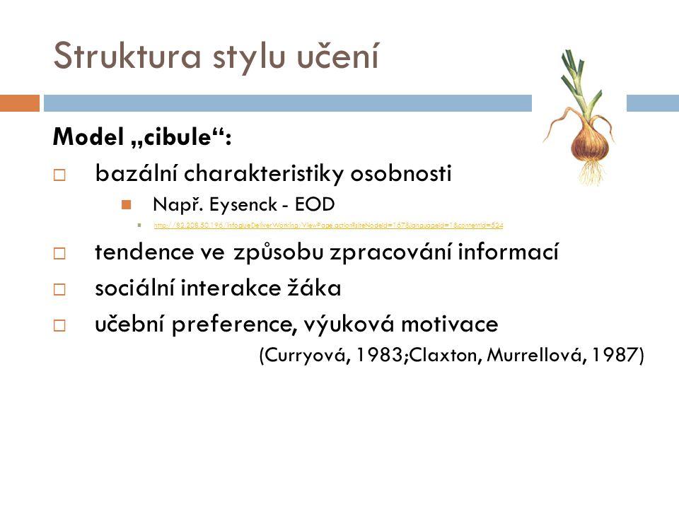 """Struktura stylu učení Model """"cibule"""":  bazální charakteristiky osobnosti Např. Eysenck - EOD http://82.208.50.196/infoglueDeliverWorking/ViewPage.act"""
