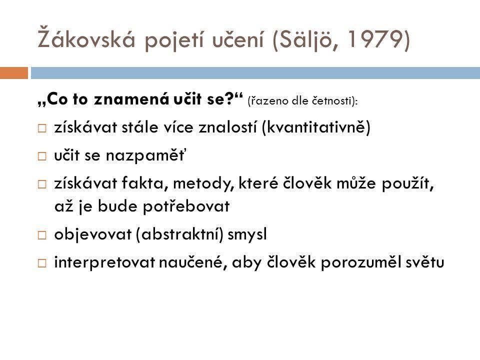 """Žákovská pojetí učení (Säljö, 1979) """"Co to znamená učit se?"""" (řazeno dle četnosti):  získávat stále více znalostí (kvantitativně)  učit se nazpaměť"""