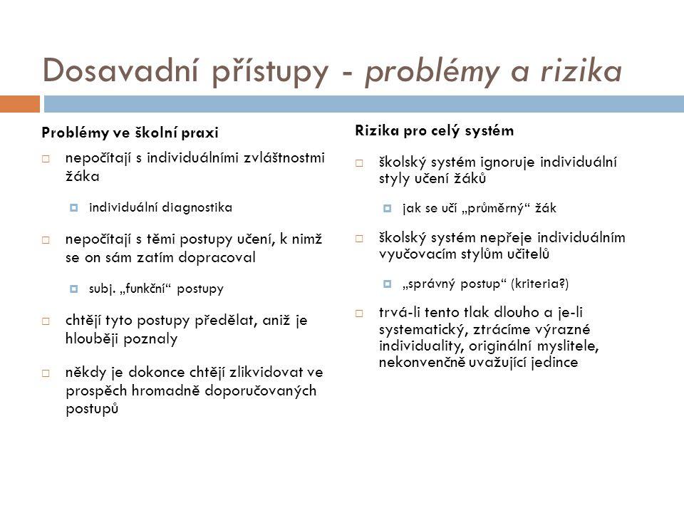 Dosavadní přístupy - problémy a rizika Problémy ve školní praxi  nepočítají s individuálními zvláštnostmi žáka  individuální diagnostika  nepočítaj