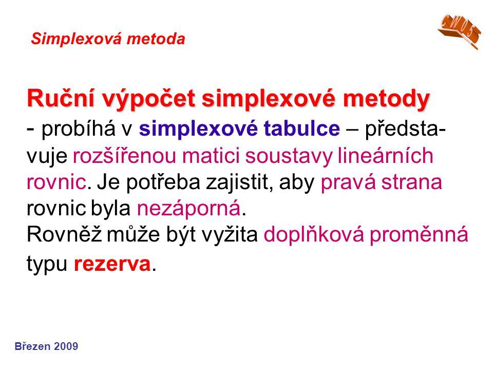 Ruční výpočet simplexové metody Ruční výpočet simplexové metody - probíhá v simplexové tabulce – předsta- vuje rozšířenou matici soustavy lineárních rovnic.