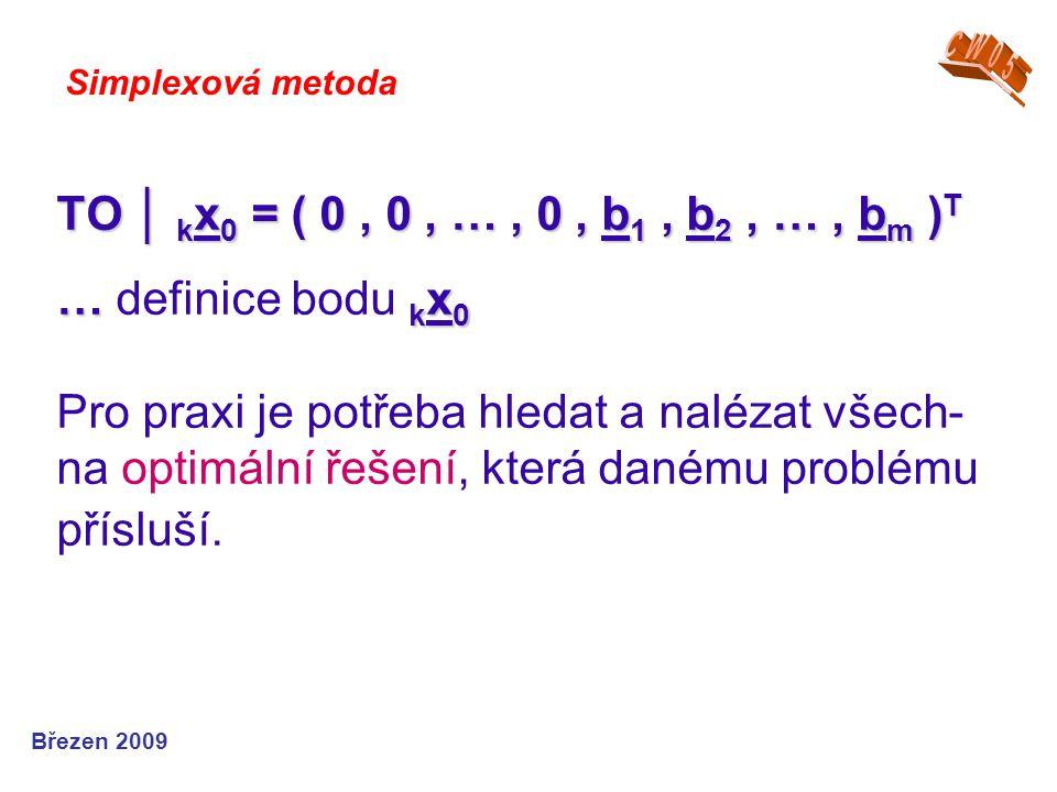TO │ k x 0 = ( 0, 0, …, 0, b 1, b 2, …, b m ) T … k x 0 TO │ k x 0 = ( 0, 0, …, 0, b 1, b 2, …, b m ) T … definice bodu k x 0 Pro praxi je potřeba hledat a nalézat všech- na optimální řešení, která danému problému přísluší.