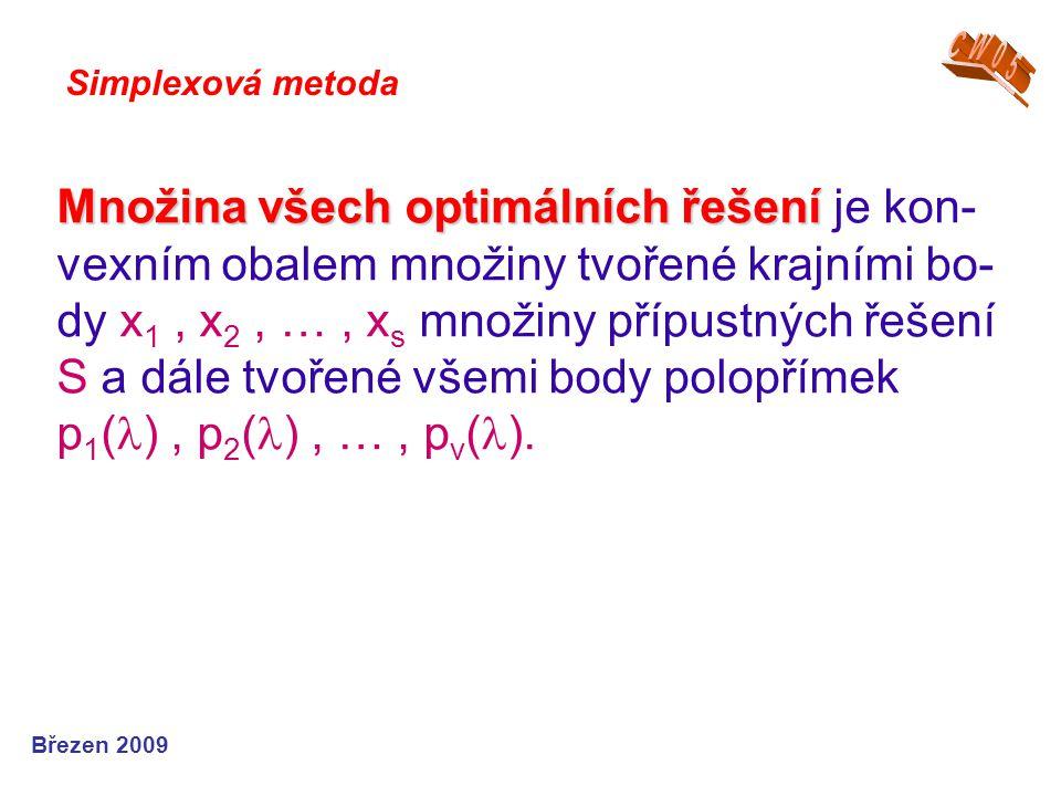 Množina všech optimálních řešení Množina všech optimálních řešení je kon- vexním obalem množiny tvořené krajními bo- dy x 1, x 2, …, x s množiny přípustných řešení S a dále tvořené všemi body polopřímek p 1 ( ), p 2 ( ), …, p v ( ).