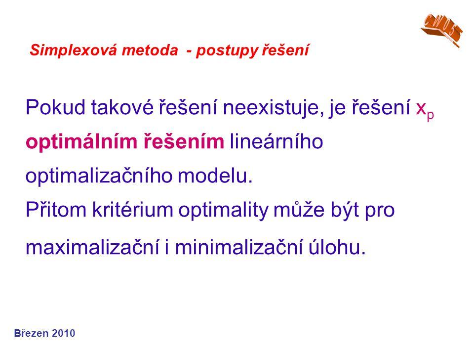 Pokud takové řešení neexistuje, je řešení x p optimálním řešením lineárního optimalizačního modelu.