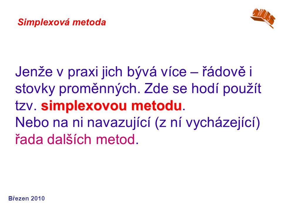 simplexovou metodu Jenže v praxi jich bývá více – řádově i stovky proměnných.