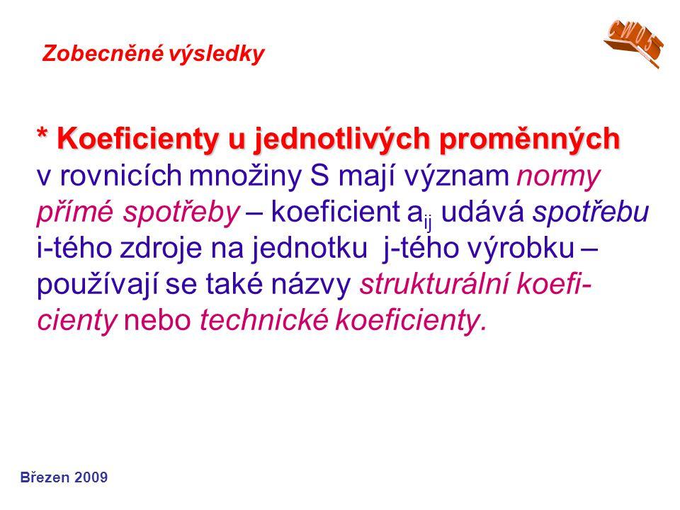 * Koeficienty u jednotlivých proměnných * Koeficienty u jednotlivých proměnných v rovnicích množiny S mají význam normy přímé spotřeby – koeficient a ij udává spotřebu i-tého zdroje na jednotku j-tého výrobku – používají se také názvy strukturální koefi- cienty nebo technické koeficienty.