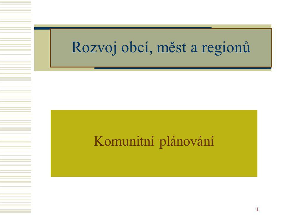 1 Rozvoj obcí, měst a regionů Komunitní plánování