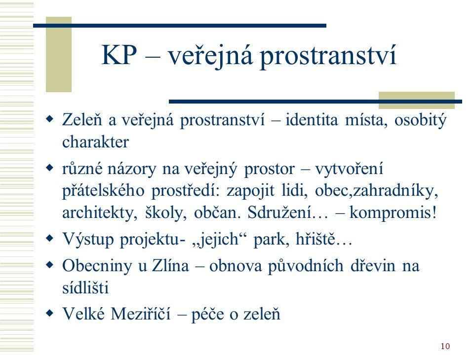 10 KP – veřejná prostranství  Zeleň a veřejná prostranství – identita místa, osobitý charakter  různé názory na veřejný prostor – vytvoření přátelského prostředí: zapojit lidi, obec,zahradníky, architekty, školy, občan.